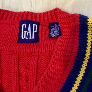 GAP Sweaters - Vintage 90s striped graphic GAP v-neck sweater